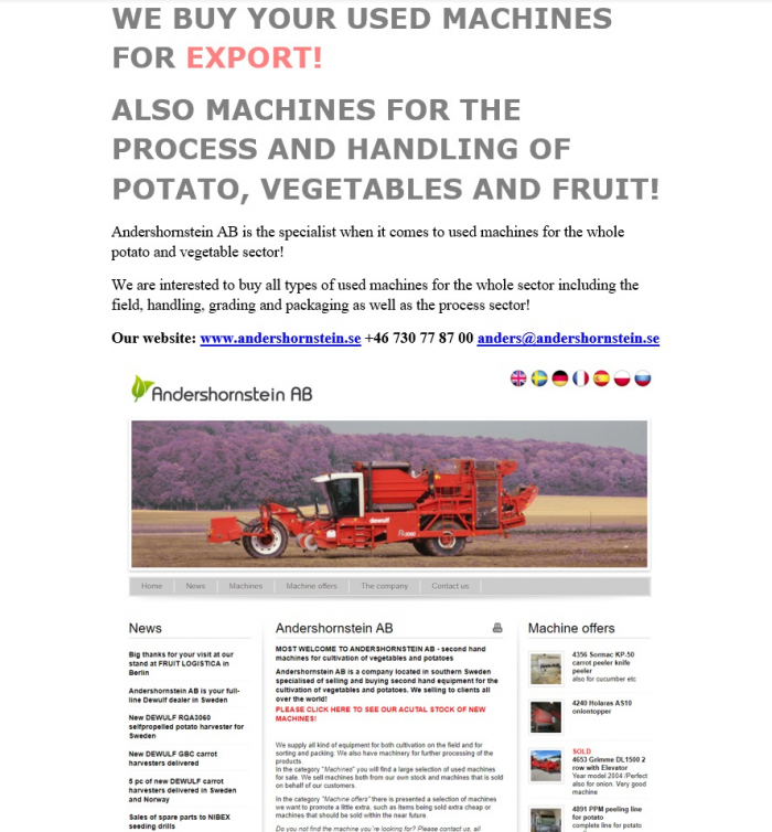 5334 WE BUY YOUR USED MACHINES FOR EXPORT Potato vegetable fruit